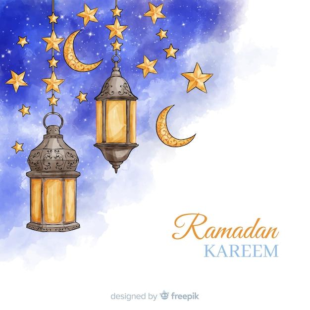 Acquerello sfondo di ramadan Vettore gratuito