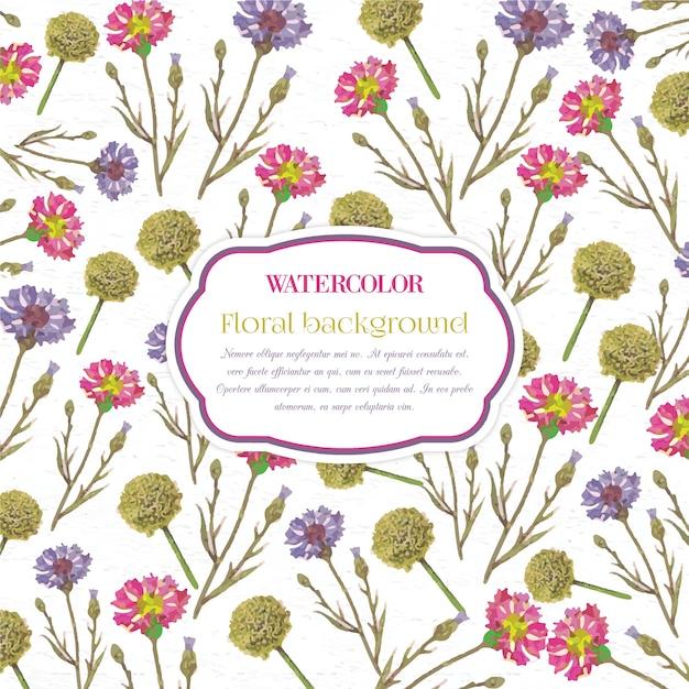 Acquerello sfondo floreale con telaio Vettore Premium