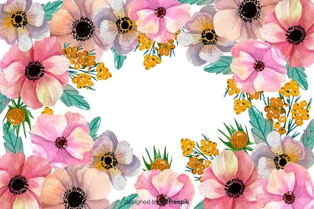 Acquerello sfondo floreale e copia spazio Vettore gratuito