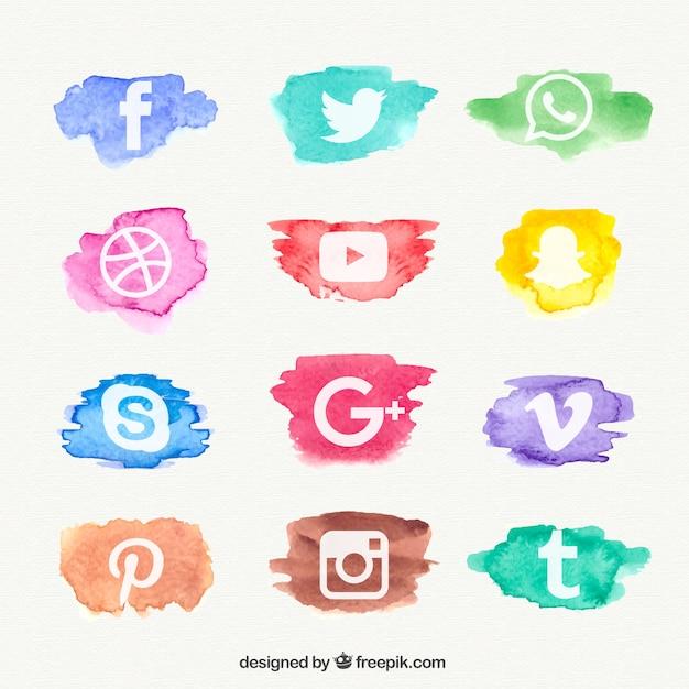 Acquerello social network collezione di icone Vettore gratuito