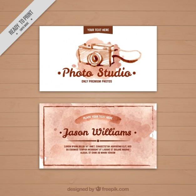 Acquerello studio fotografico biglietto da visita Vettore gratuito
