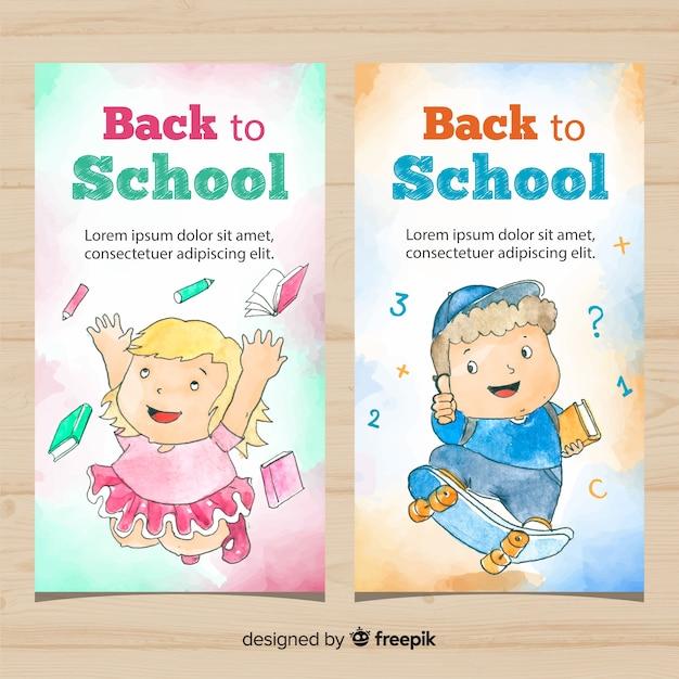 Acquerello torna a scuola banner Vettore gratuito