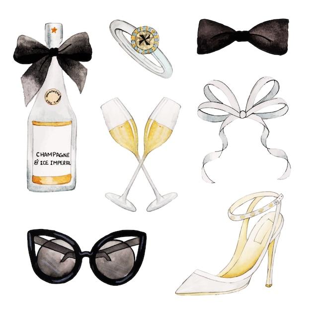 Acquerello valentine elements collection Vettore Premium