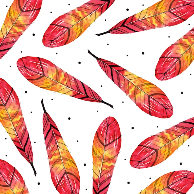 Acquerello valentine feather pattern background Vettore Premium