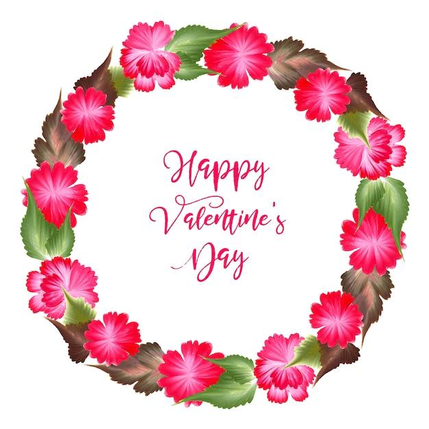 Acquerello valentine floral wreath Vettore Premium