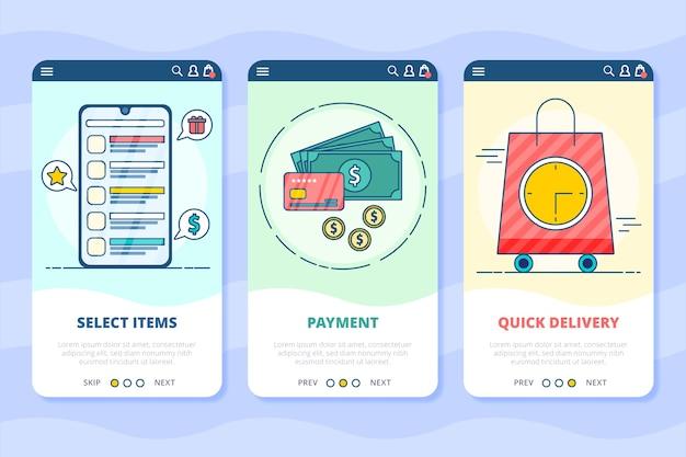 Acquista le schermate delle app di onboarding online Vettore gratuito