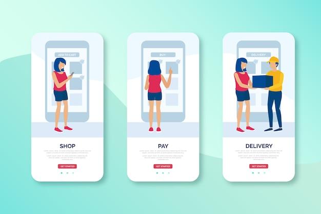 Acquista online e consegna design dell'interfaccia mobile Vettore gratuito