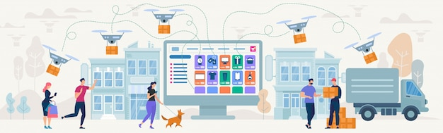 Acquisti e consegna online. illustrazione vettoriale Vettore Premium
