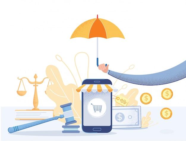 Acquisti online di protezione legale per poster piatto. Vettore Premium