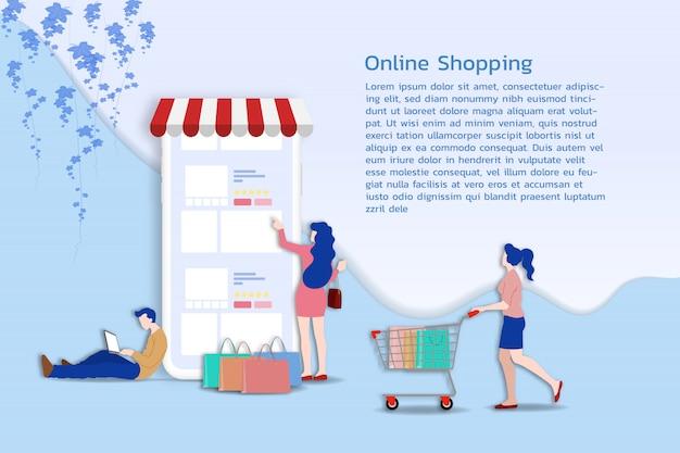 Acquisti online per m-commerce. Vettore Premium