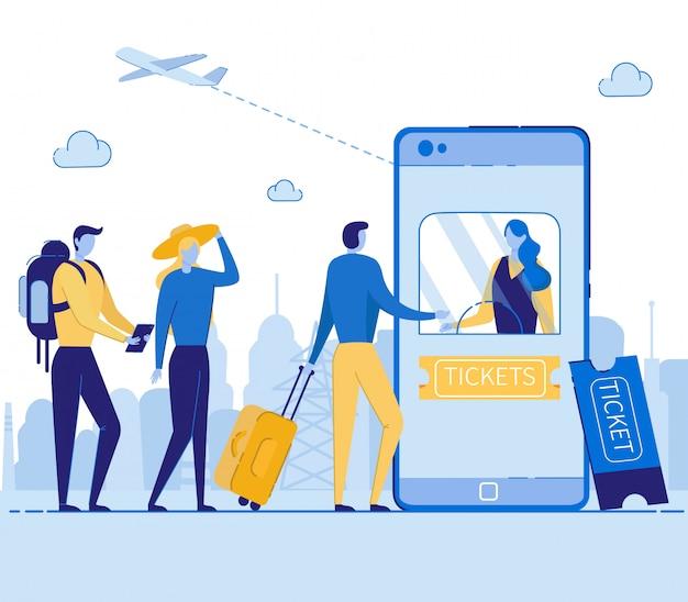 Acquisto del servizio di biglietti online nel telefono cellulare. Vettore Premium