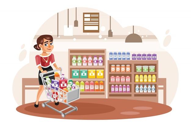 Acquisto della giovane donna all'illustrazione di vettore del supermercato Vettore Premium