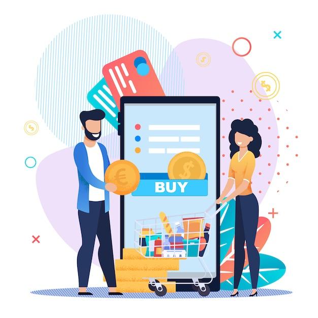 Acquisto della spesa online sull'applicazione mobile Vettore Premium