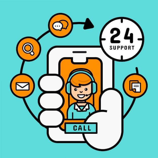 Acquisto online sul concetto mobile, supporto di servizio di assistenza al cliente delle donne dal cellulare per l'affare, illustrazione moderna di vettore Vettore Premium