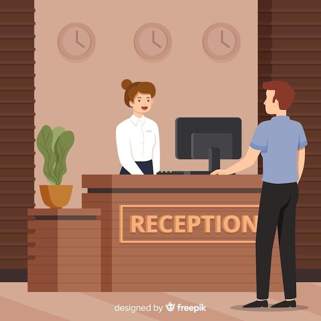 Addetto alla reception che si occupa dello sfondo del cliente Vettore gratuito