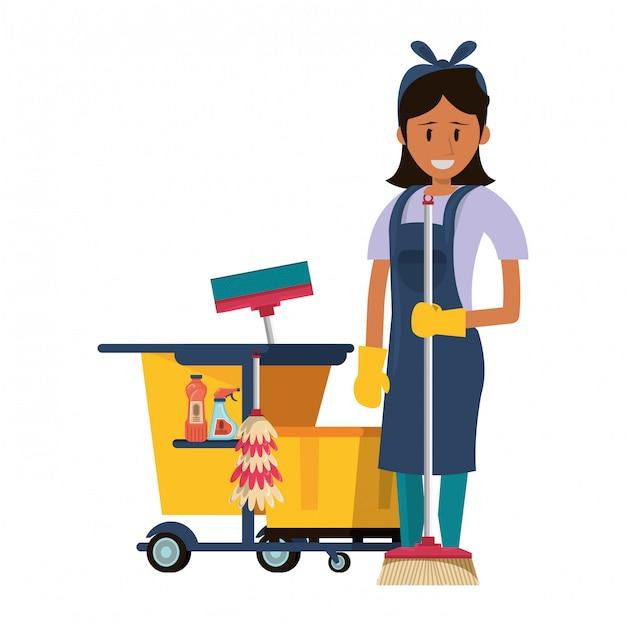 Addetto alle pulizie con prodotti e attrezzature per la pulizia Vettore Premium