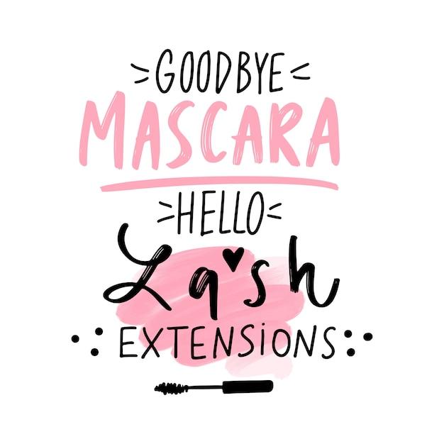 Addio mascara, ciao estensioni ciglia. citazione di ciglia disegnate a mano. Vettore Premium