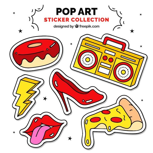 Adesivi ad arte pop con stile divertente Vettore gratuito