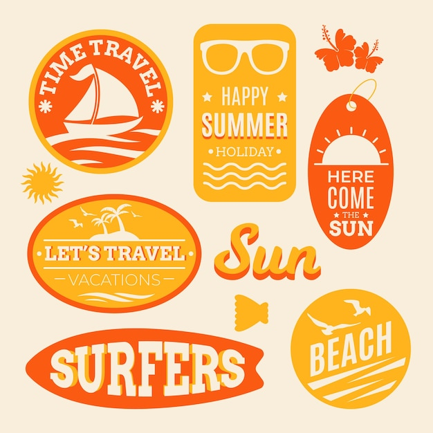 Adesivi da viaggio estivi da spiaggia in stile anni '70 Vettore gratuito