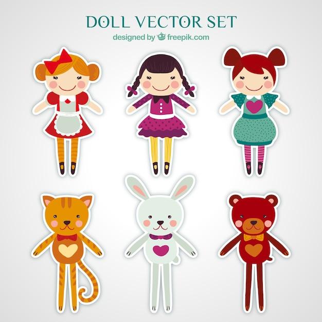 Adesivi di bambole pacco Vettore gratuito
