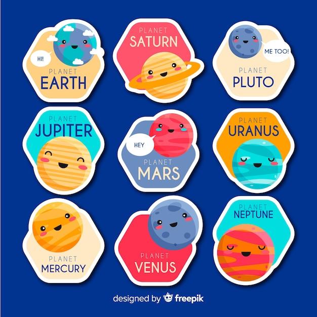 Adesivi di elementi spaziali Vettore gratuito
