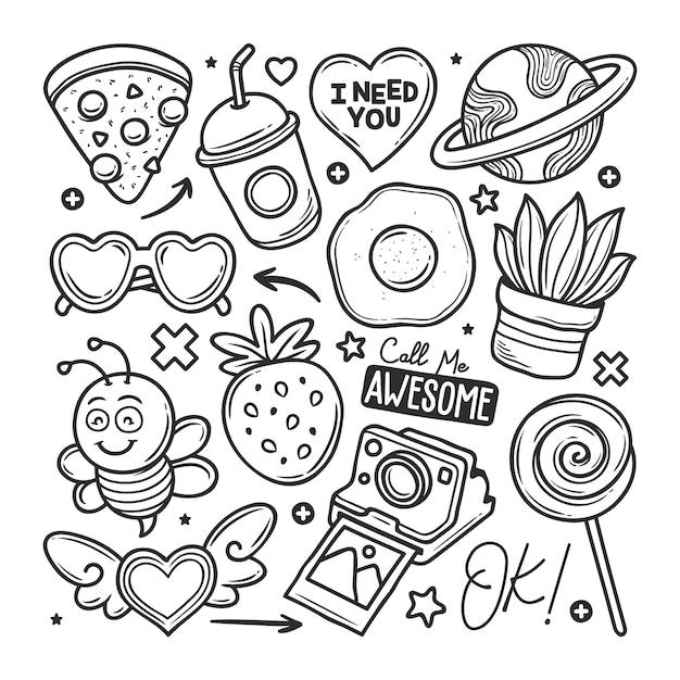 Adesivi disegnati a mano doodle Vettore gratuito