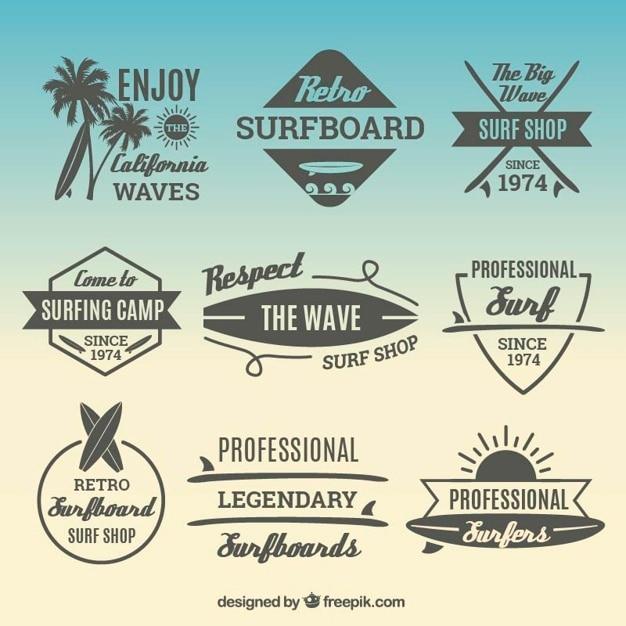 Adesivi pacco con elementi di surf Vettore gratuito