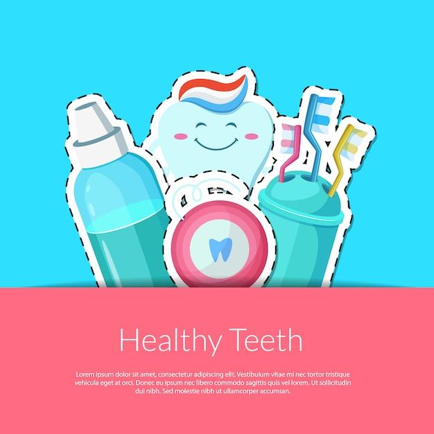 Adesivi per l'igiene dei denti dei cartoni animati in tasca Vettore Premium