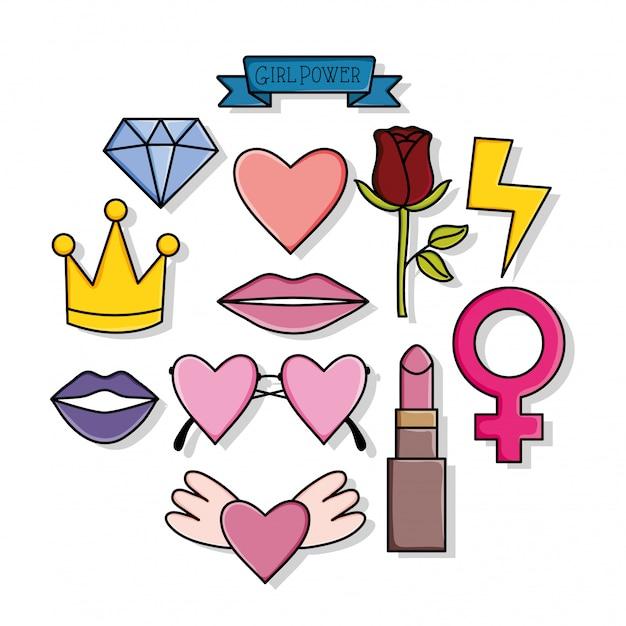Adesivi power girl stile pop art Vettore Premium