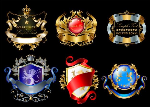 Adesivi reali con corone, scudi, nastri, leoni, stelle isolate su sfondo nero Vettore gratuito