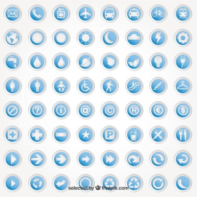 Adesivi rotondi con icone Vettore gratuito