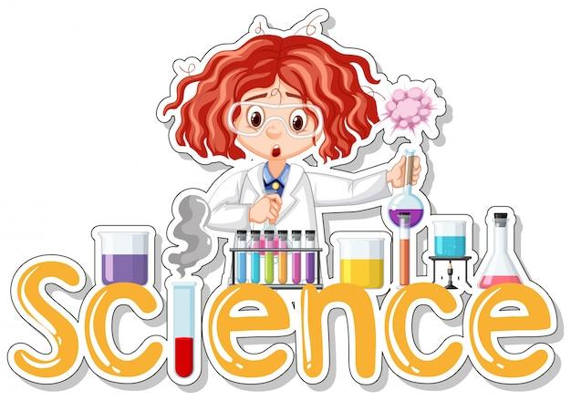 Adesivo con scienziato che fa esperimento Vettore gratuito