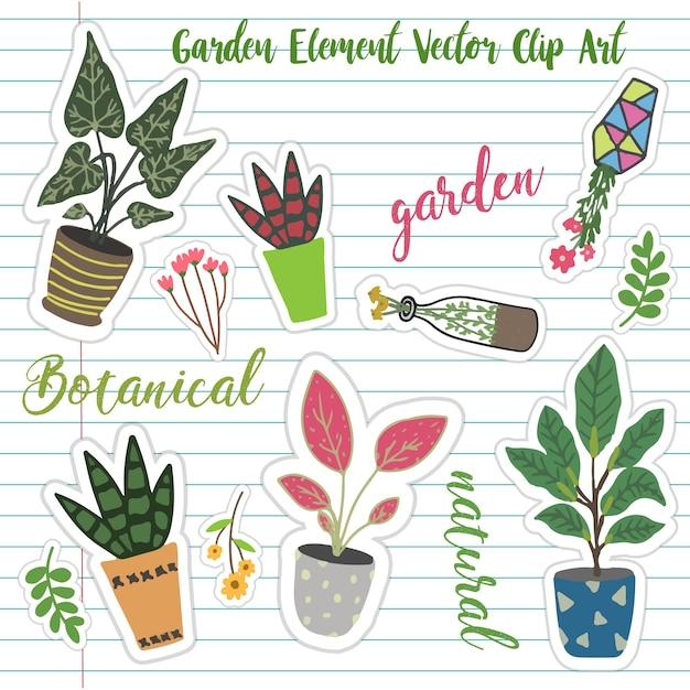 Adesivo di pianta giardino vettoriale Vettore Premium