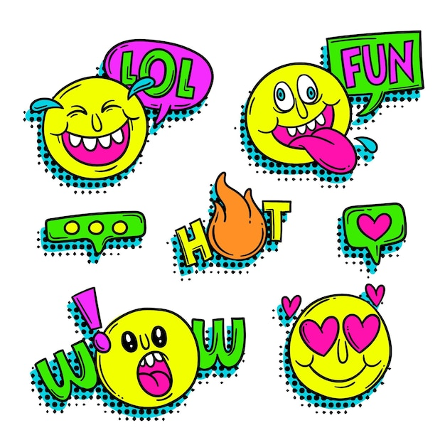 Adesivo divertente gergale ed emoji Vettore gratuito