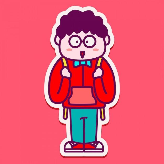 Adesivo personaggio simpatico ragazzo torna a scuola Vettore Premium