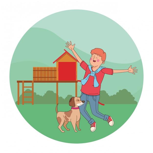 Adolescente che sorride e che cammina il fumetto del cane Vettore Premium