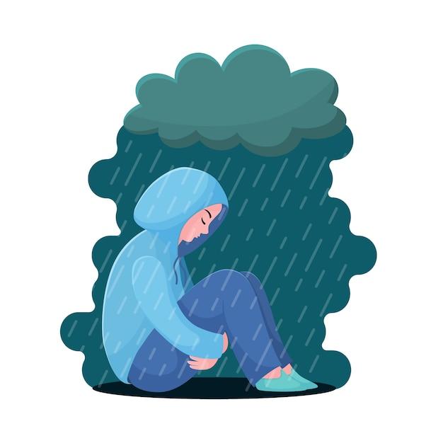 Adolescente triste e infelice, giovane donna che si siede in felpa con cappuccio sotto la pioggia, concetto di depressione, stile piano Vettore Premium