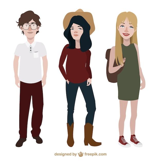 Adolescenti con stile vestiti diverso Vettore gratuito
