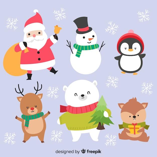 Adorabile collezione di personaggi natalizi Vettore gratuito