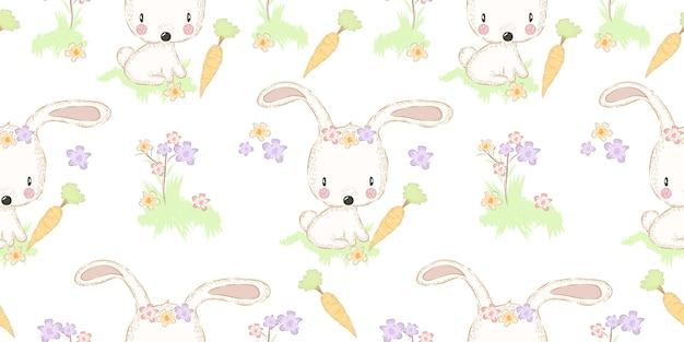 Adorabile coniglietto con carota senza cuciture Vettore Premium