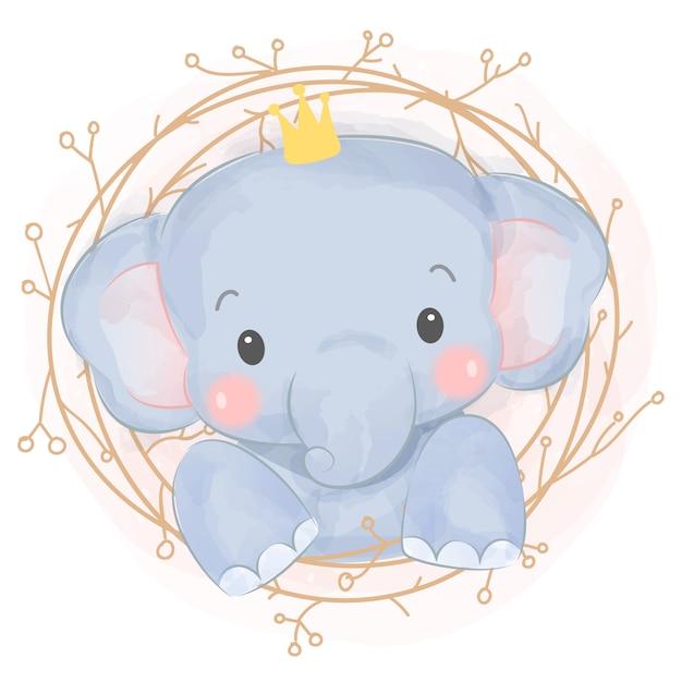 Adorabile elefantino dell'acquerello Vettore Premium