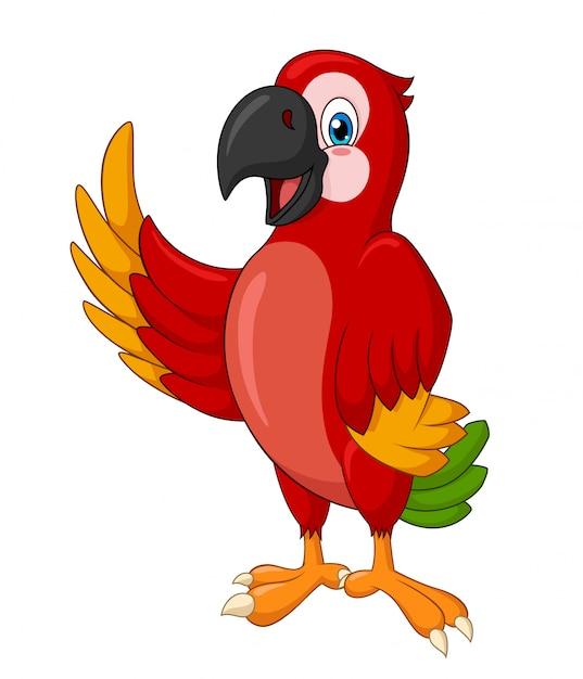 Adorabile in piedi macaw sventolando cartone animato Vettore Premium