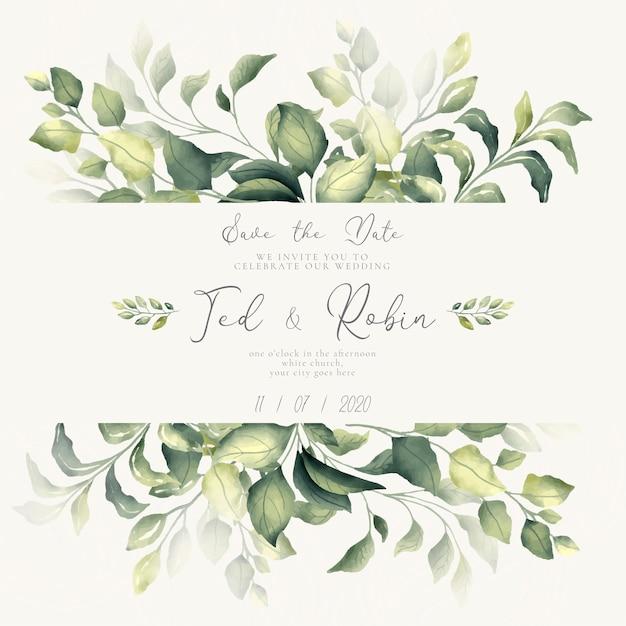 Adorabile invito save the date con foglie ad acquerelli Vettore gratuito