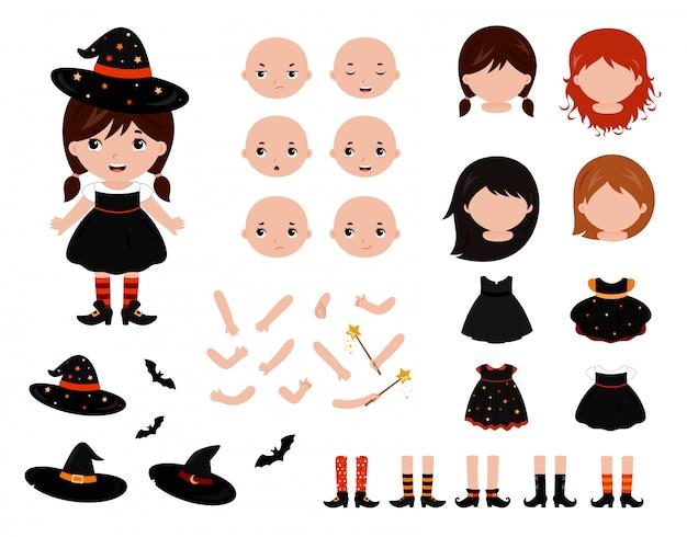 Adorabile set di bambole di carta per piccole streghe Vettore Premium