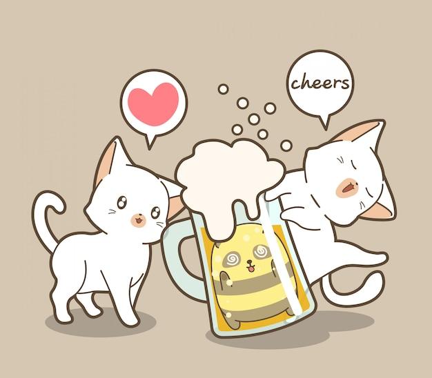 Adorabili gatti e panda in una tazza di birra Vettore Premium