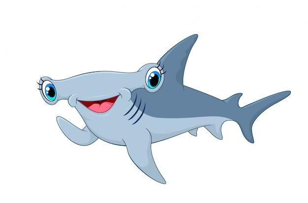 Adorable hammerhead shark waving hand Vettore Premium
