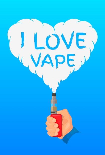 Adoro il concetto di design di vaporizzatore, logo o simbolo Vettore Premium