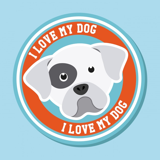 Adoro la grafica del mio cane Vettore gratuito