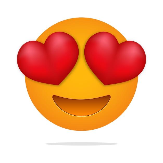 Adoro le emoji. volto di occhi di cuore. Vettore Premium