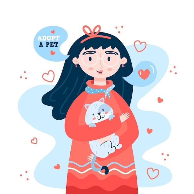 Adotta una ragazza che tiene un gattino Vettore gratuito
